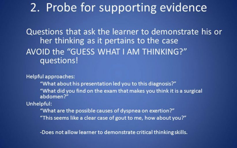(Microskill 2: Probe for supporting Evidence (five microskills for clinical teaching