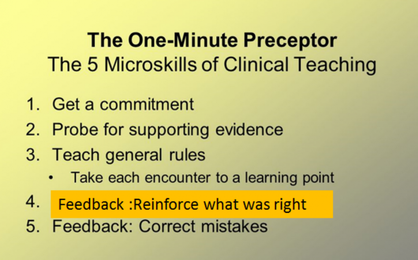 (Microskill 4: Reinforce what was done well (five microskills for clinical teaching